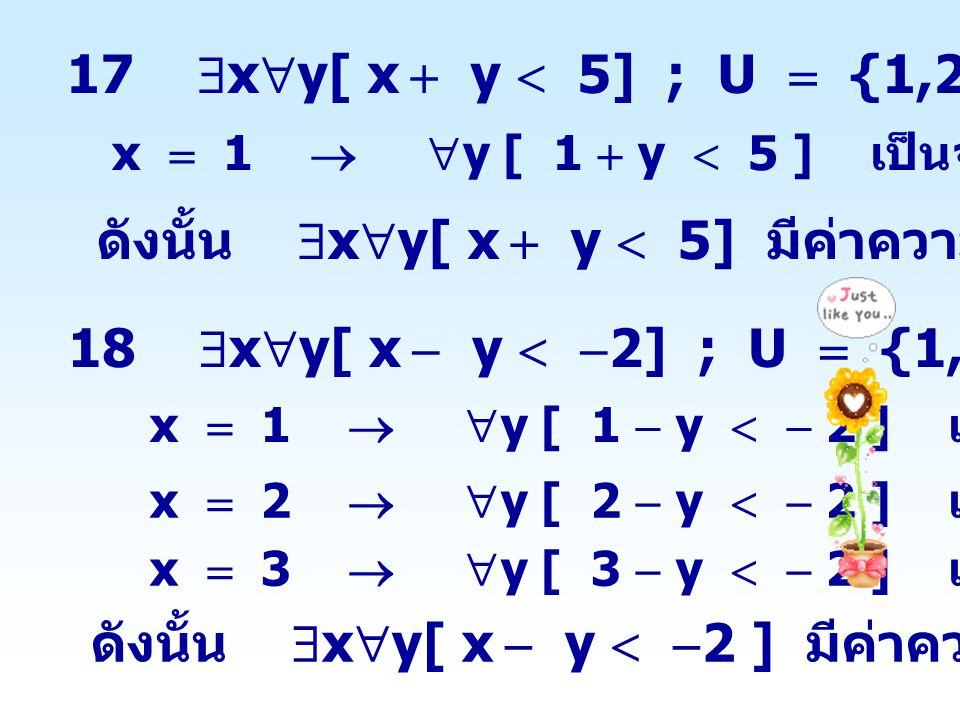 ดังนั้น xy[ x  y  5] มีค่าความจริงเป็นจริง